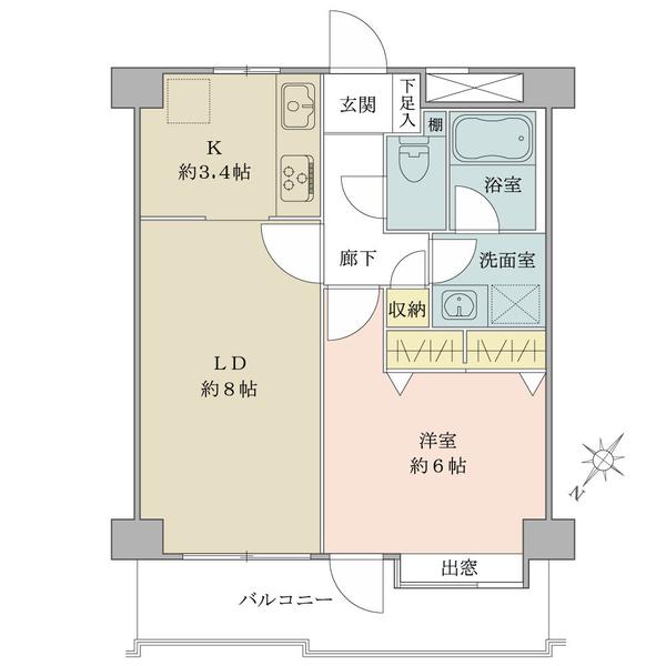 グランヴェール中村橋の間取図/3F/2,180万円/1LDK/42 m²