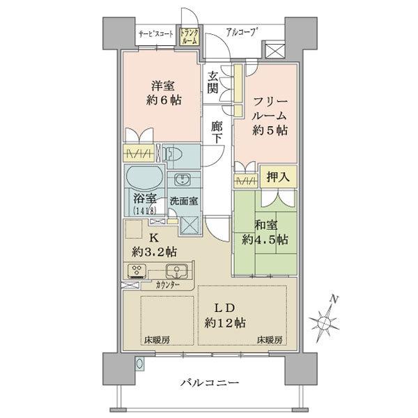 ブリリア六甲アイランドブランズリビオの間取図/12F/2,600万円/2LDK+F/67.28 m²