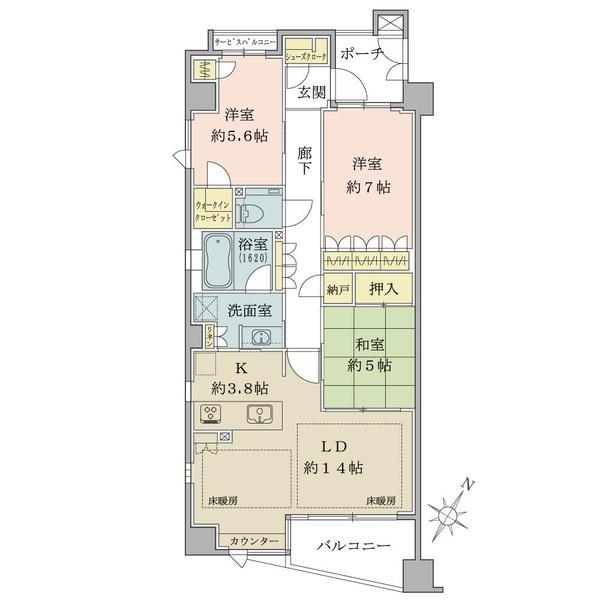 ブリリア甲南の間取図/3F/3,980万円/3LDK/86.64 m²