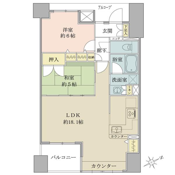 ブリリア高槻摂津富田駅前の間取図/7F/3,080万円/2LDK/64.93 m²
