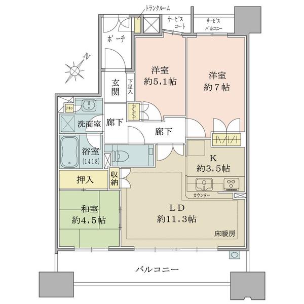 ブリリア豊中南桜塚レジデンスの間取図/2F/3,680万円/3LDK/71.3 m²