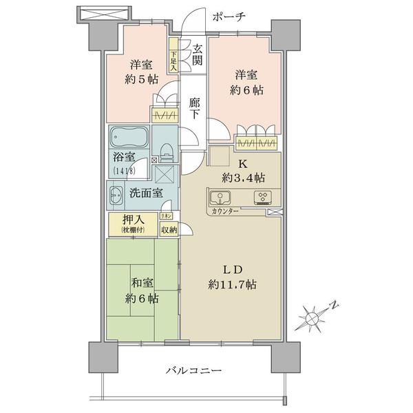 ブリリア御幣島 4階の間取図/4F/3,050万円/3LDK/68.85 m²