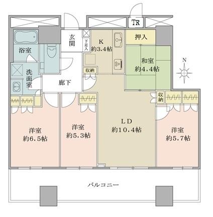 ザ・梅田タワーの間取図/20F/7,500万円/4LDK/80.89 m²