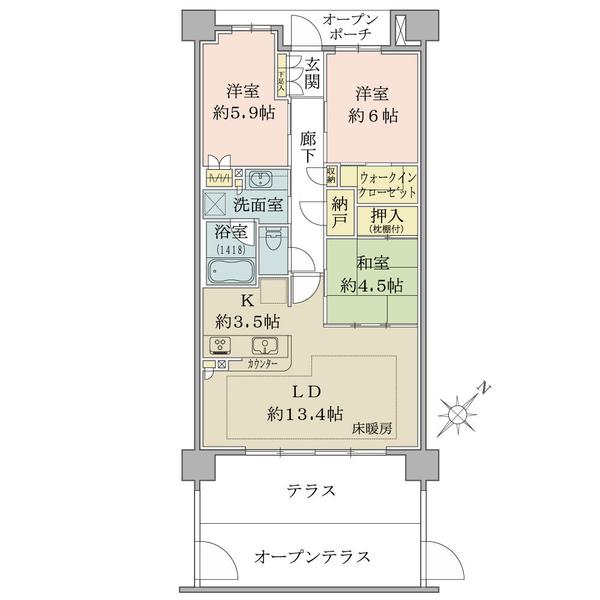 ブリリアシティ千里丘の間取図/2F/4,320万円/3LDK+WIC/76.04 m²