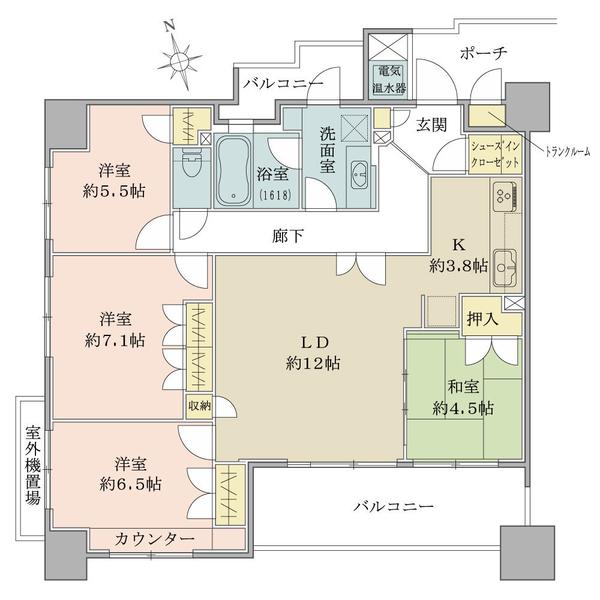 ブリリア大津石山の間取図/11F/2,980万円/4LDK/91.25 m²