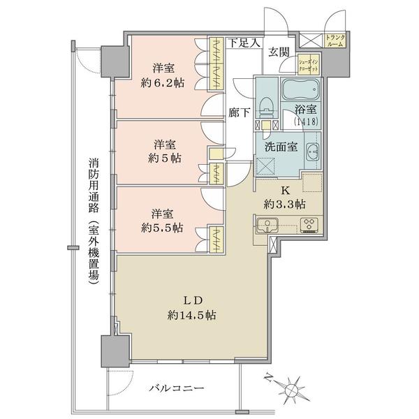 BrilliaTower神戸元町の間取図/31F/7,580万円/3LDK/76.25 m²