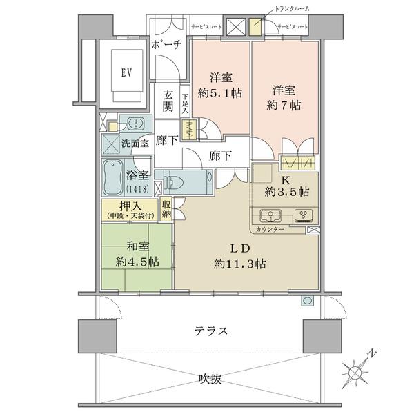 Brillia豊中南桜塚レジデンスの間取図/1F/3,750万円/3LDK/72.81 m²