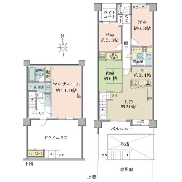 プランヴェール西宮門戸の間取図/1F/4,890万円/4LDK/109.9 m²