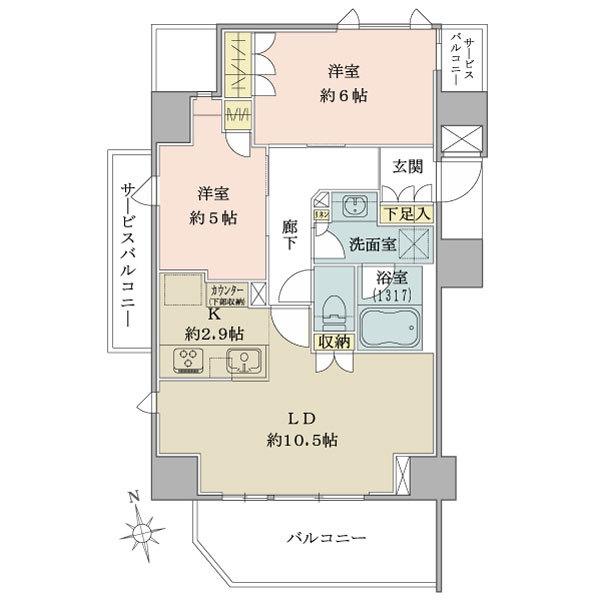 ブリリア品川戸越Parksの間取図/6F/6,480万円/2LDK/57.01 m²