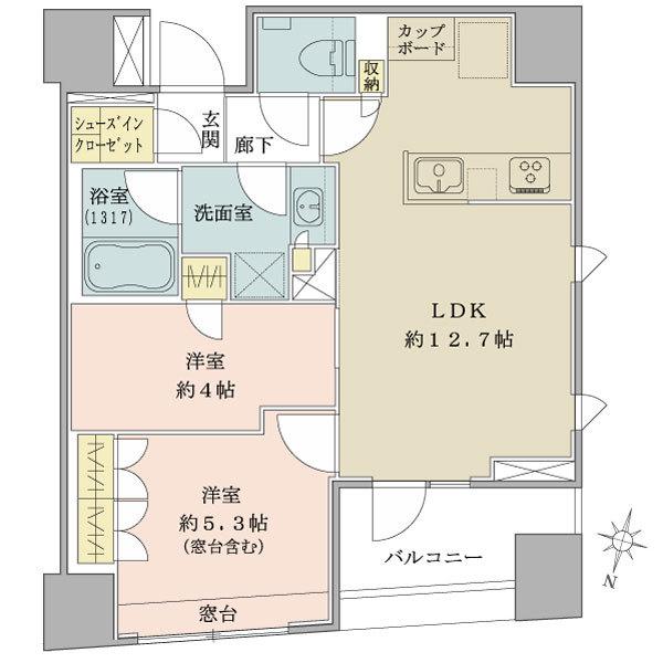 ブリリア日本橋三越前の間取図/2F/5,850万円/2LDK/51.21 m²