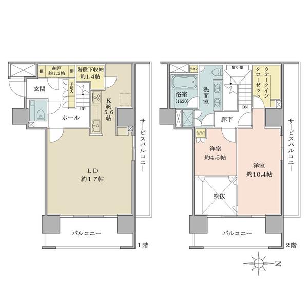 ブリリアタワー名古屋グランスイートの間取図/23F/12,000万円/2LDK/103.5 m²