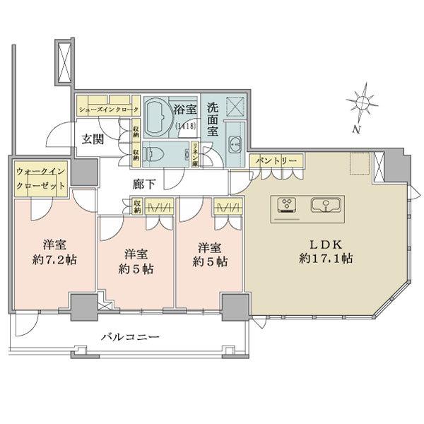 ザ・コスギタワーの間取図/44F/6,980万円/3LDK+WIC+SIC/81.92 m²