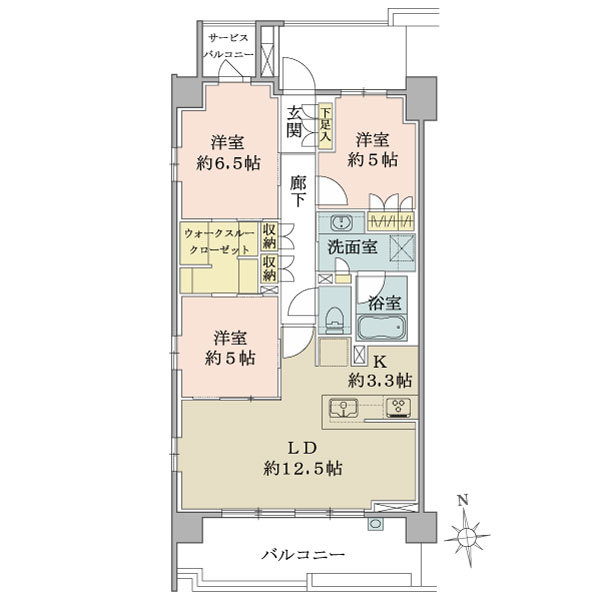 ブリリア横浜仲町台の間取図/6F/4,990万円/3LDK+WTC/75.66 m²