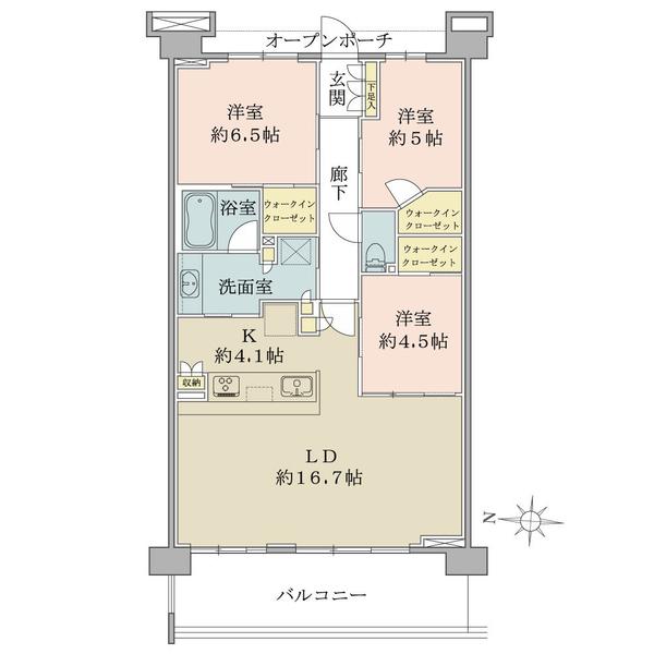 ブリリア イースクエアの間取図/3F/4,680万円/3LDK+3WIC/82.25 m²