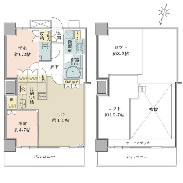 ザ・コスギタワーの間取図/24F/5,580万円/2LDK+2ロフト/58.36 m²
