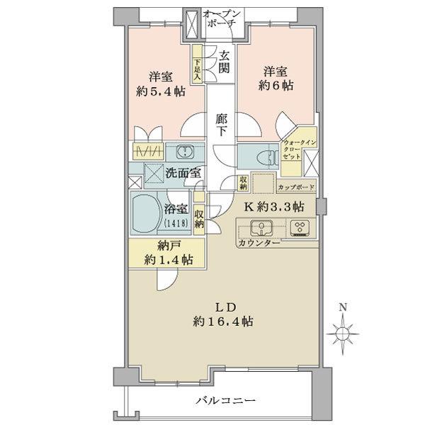 ブリリア元住吉 グリーンサイド棟の間取図/2F/4,980万円/2SLDK+WIC/69.97 m²
