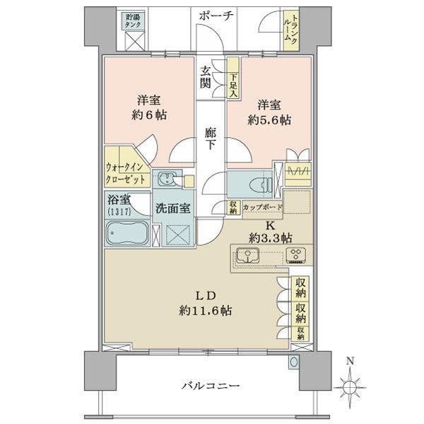 ブリリア武蔵小杉の間取図/17F/5,980万円/2LDK+WIC/63.59 m²