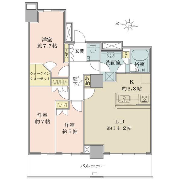 ザ・コスギタワーの間取図/12F/6,480万円/3LDK+WIC/83.6 m²