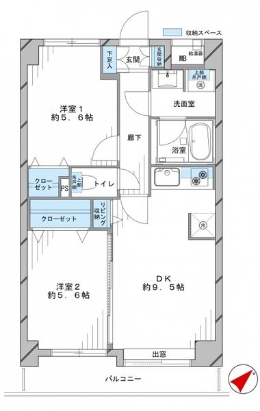 アールヴェール多摩川の間取図/2F/3,580万円/2DK/50.68 m²
