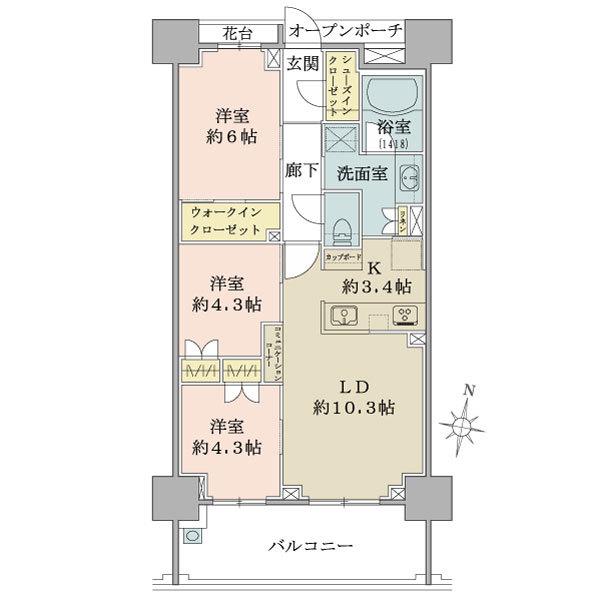 ブリリア武蔵中原の間取図/6F/4,670万円/3LDK+WIC+SIC/67.47 m²