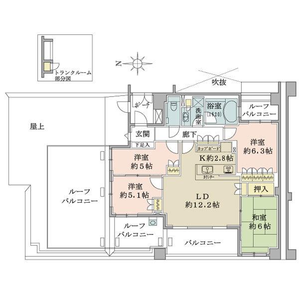 ブリリアヒルズ宮前平の間取図/5F/6,680万円/4LDK/85.3 m²