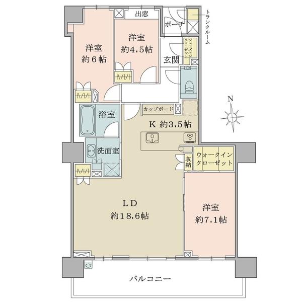 ブリリアセンター南の間取図/5F/6,980万円/3LDK+WIC+SIC/90.15 m²