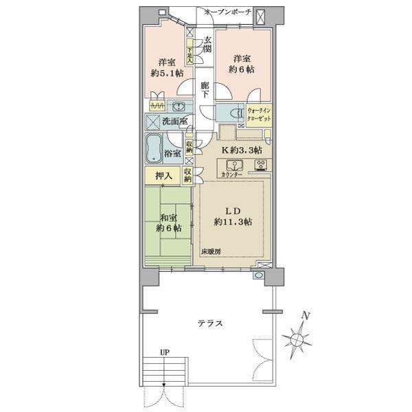 ブリリア青葉荏田の間取図/4F/4,080万円/3LDK+WIC/70.81 m²