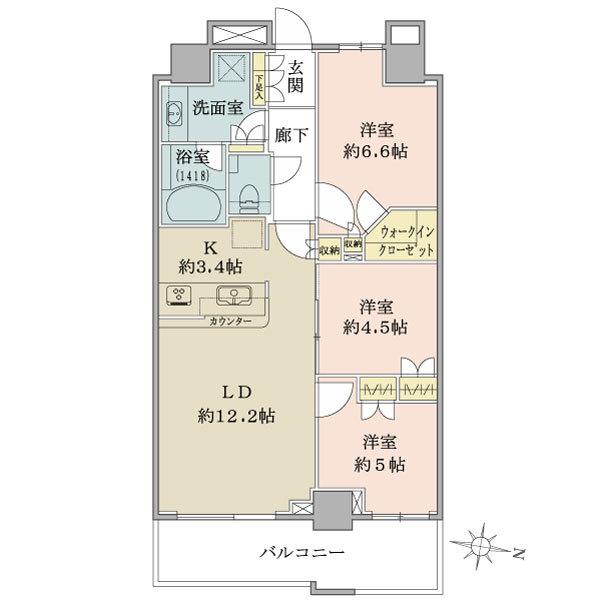 ザ・コスギタワーの間取図/43F/6,180万円/3LDK+WIC/70.01 m²
