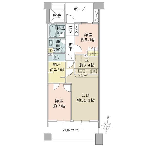 ディー・トリア アイリットスクエアの間取図/8F/5,480万円/2LDK+納戸/62.93 m²