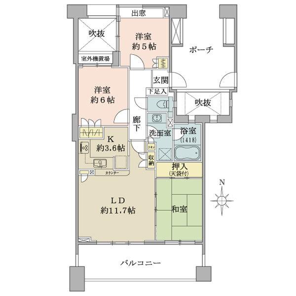 ディー・トリア アイリットスクエアの間取図/8F/5,780万円/3LDK/72.01 m²