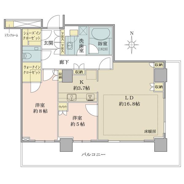 ブリリアタワー大崎の間取図/11F/7,630万円/2LDK+WIC+SIC/80.91 m²