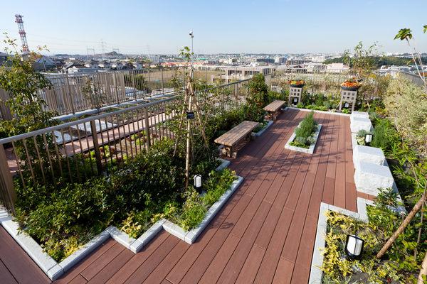 眺望のいい、プライベート感覚の屋上庭園「スカイテラス」。