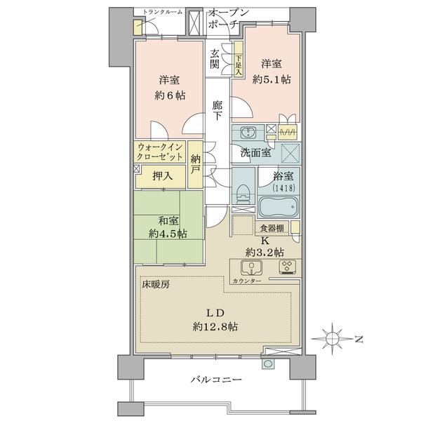 東向き・ファミリータイプ3LDK+WIC! 全居室に収納があり、トランクルームや納戸など収納豊富