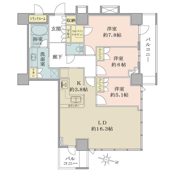 ザ・コスギタワーの間取図/28F/6,980万円/3LDK+WIC/87.67 m²