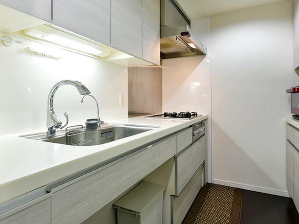 キッチンには、ディスポーザーや浄水器、サイレントワイドシンクなど充実の設備!