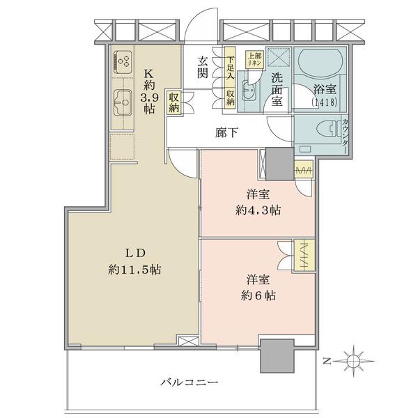 ブリリアタワー大崎の間取図/11F/5,380万円/2LDK/60.01 m²