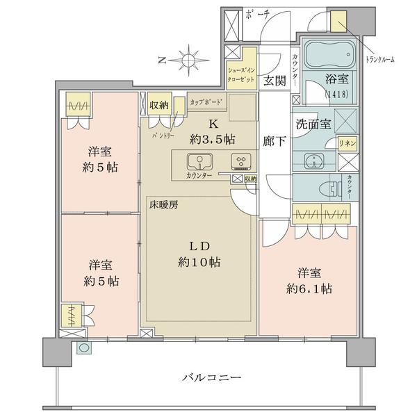 ブリリア青葉荏田の間取図/5F/4,080万円/3LDK+SIC/70.73 m²
