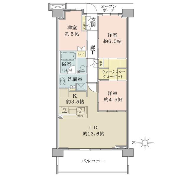 ブリリア イースクエアの間取図/3F/4,580万円/3LDK+WTC/75.68 m²