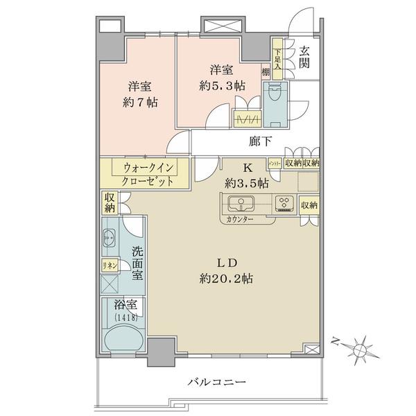 ザ・コスギタワーの間取図/48F/7,180万円/2LDK+WIC/83.43 m²