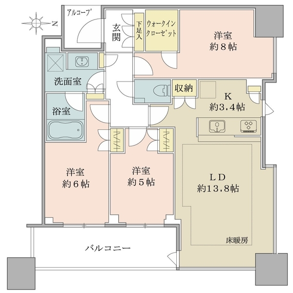 東向き・26階部分・3LDK+WIC!廊下部分が少なく、居室有効率の高い間取りです!