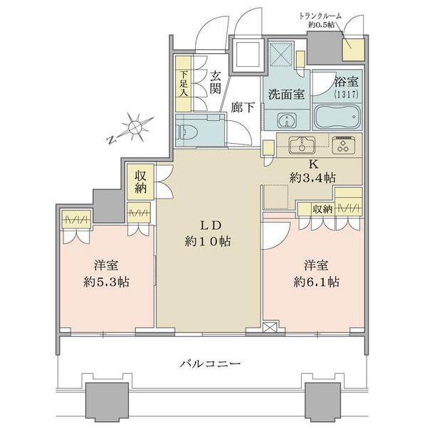 高層階32階部分・北西向き・2LDK!投資用などにも…使用用途は多彩!