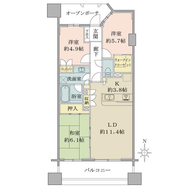 ヴェールガーデン多摩川の間取図/6F/4,280万円/3LDK+WIC/71.75 m²