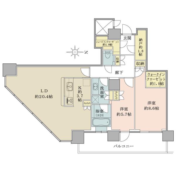 27階部分・南東向き角住戸!2LDK+S+WIC+SIC!