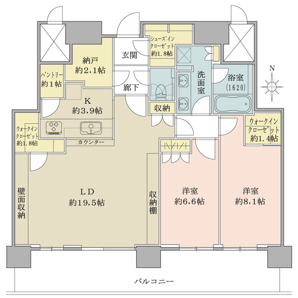 52階部分・南向き・2LDK! 廊下部分が少なく、居室有効率の高い間取りです!
