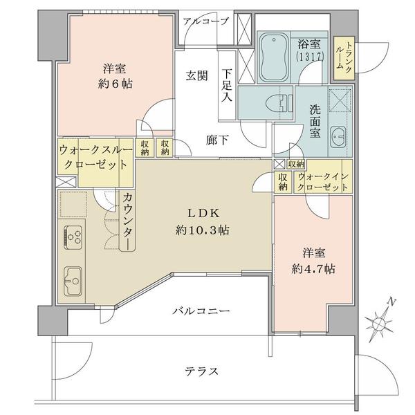 ブリリア二子多摩川idの間取図/1F/3,880万円/2LDK/54.77 m²