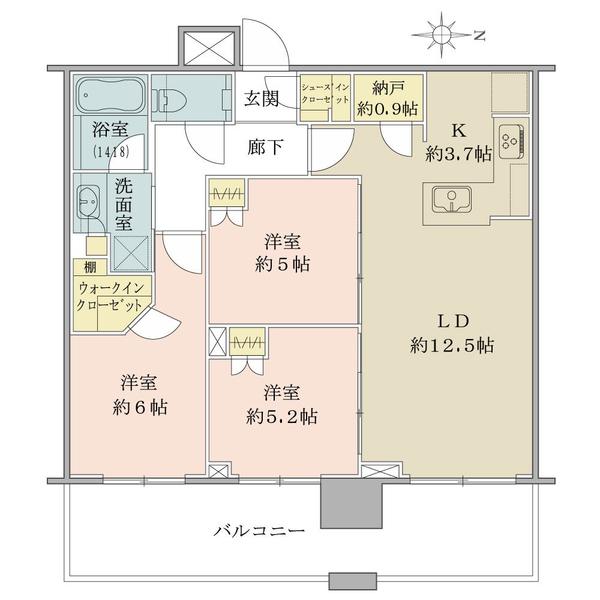 高層階22階部分・東向き・3LDK+納戸+WIC+SIC!