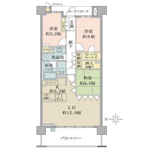 6階部分・西向き・3LDK+WIC!全居室に収納があるほか、トランクルームなど収納豊富!