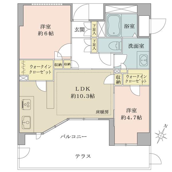 Brillia二子多摩川idの間取図/1F/4,380万円/2LDK/54.77 m²