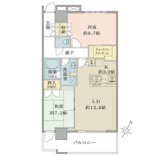 ザ・コスギタワーの間取図/27F/6,480万円/2LDK+WIC/75 m²