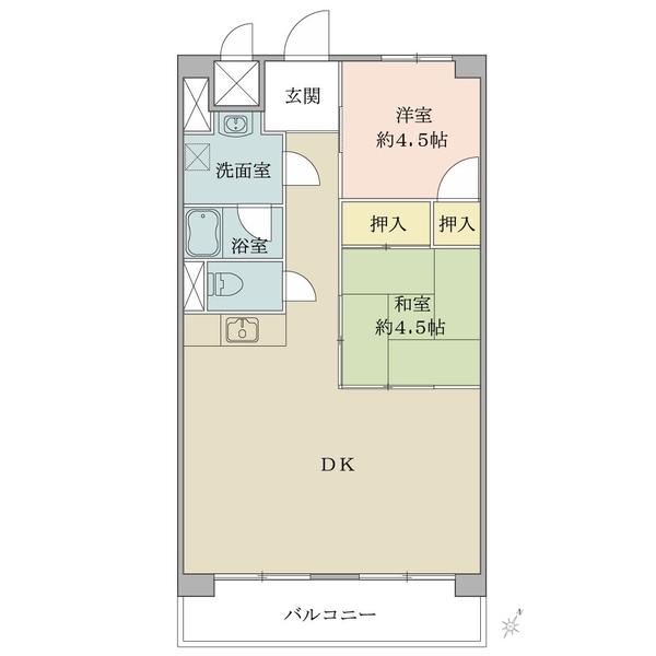 ニューハイツ田園調布の間取図/2F/2,680万円/2DK/49.68 m²